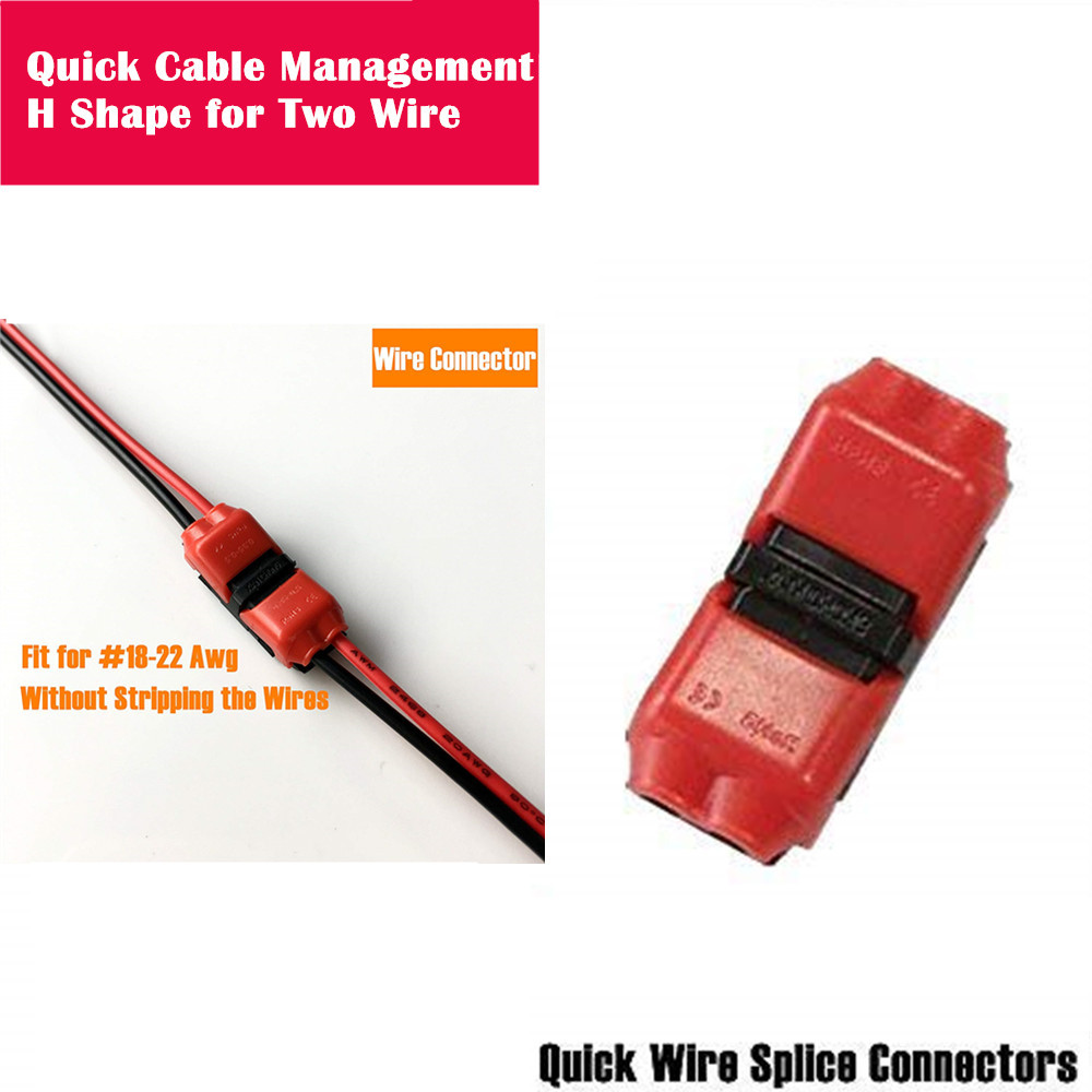 Quick Wire Connector H-Shape Electrical Butt Splice 18-22AWG Two Cable Management Dual Way Terminals Kit Without Stripping