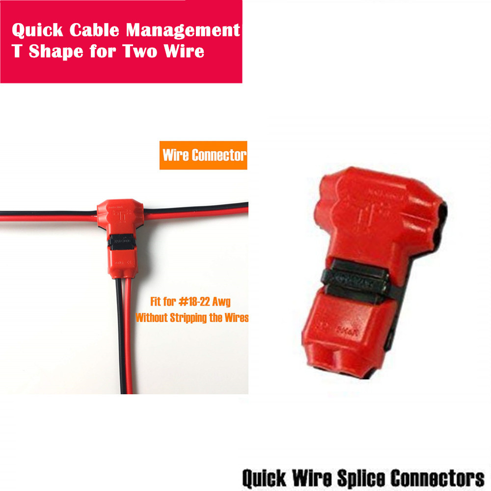 Quick Wire Connector T-Shape Electrical Butt Splice 18-22AWG Two Cable Management Dual Way Terminals Kit Without Stripping