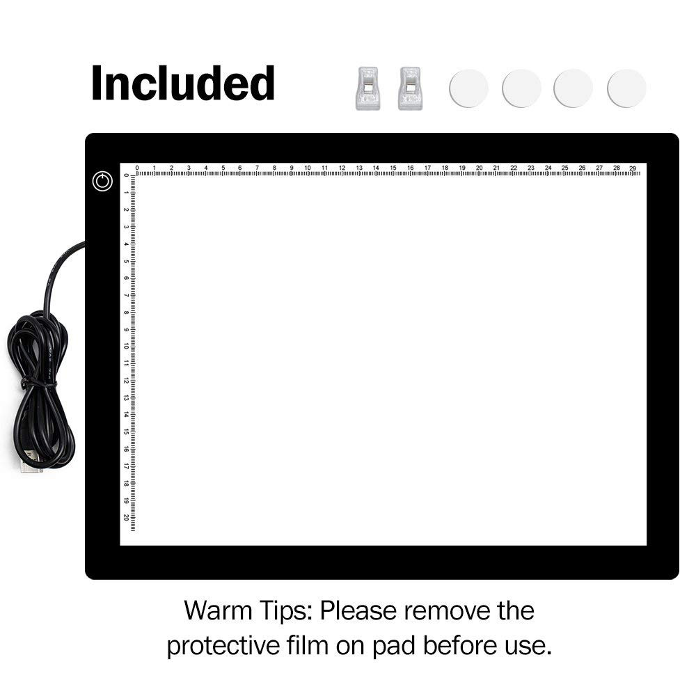 A4 LED Light Pad, Ultra Thin Portable LED Light Tracer, Full Range Dimmable with USB Power Cable