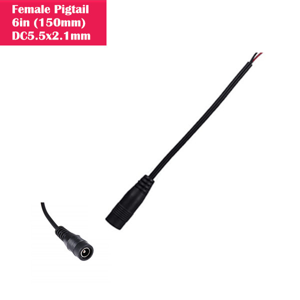 Female DC 2.1mm x 5.5mm Wire Power Pigtails Adapter Barrel Plug Socket Cables for CCTV Security Camera, DVR, Car Rearview Monitor System Video, LED Strip Light, Surveillance (6 inch / 15 cm)