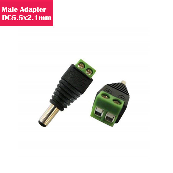 DC Male Power Connector 5.5mm x 2.1mm 12V 24V Power Jack Socket for Led Strip CCTV Security Camera Cable Wire Ends Male Plug Adapter