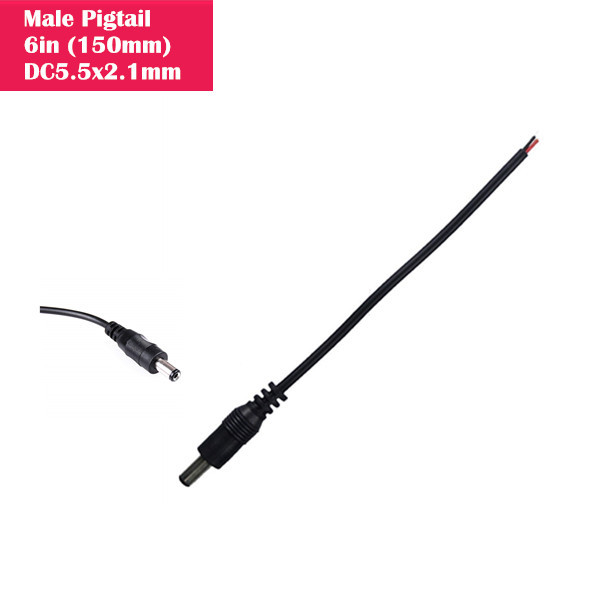 Male DC 2.1mm x 5.5mm Wire Power Pigtails Adapter Barrel Plug Socket Cables for CCTV Security Camera, DVR, Car Rearview Monitor System Video, LED Strip Light, Surveillance (6 inch / 15 cm)