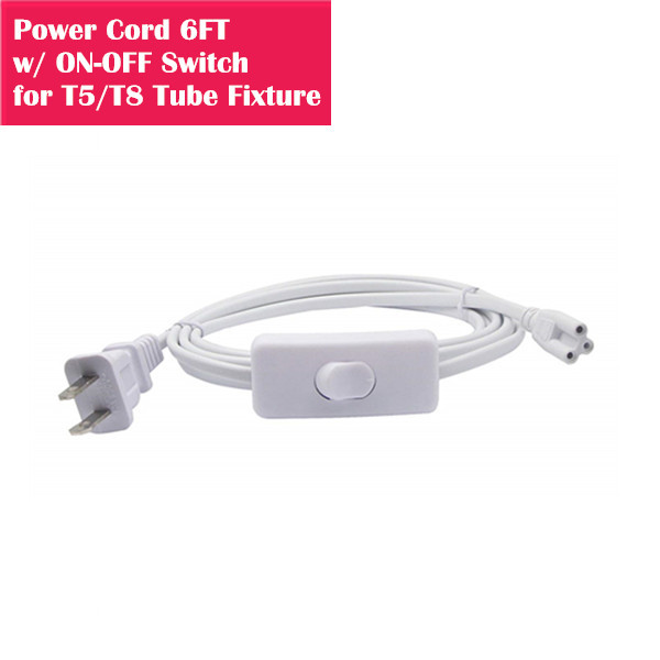 T5/T8 6ft Power Cord with on/off Swith Extension Cable Wire Connector for Integrated LED Tube Light / Tube Fixture
