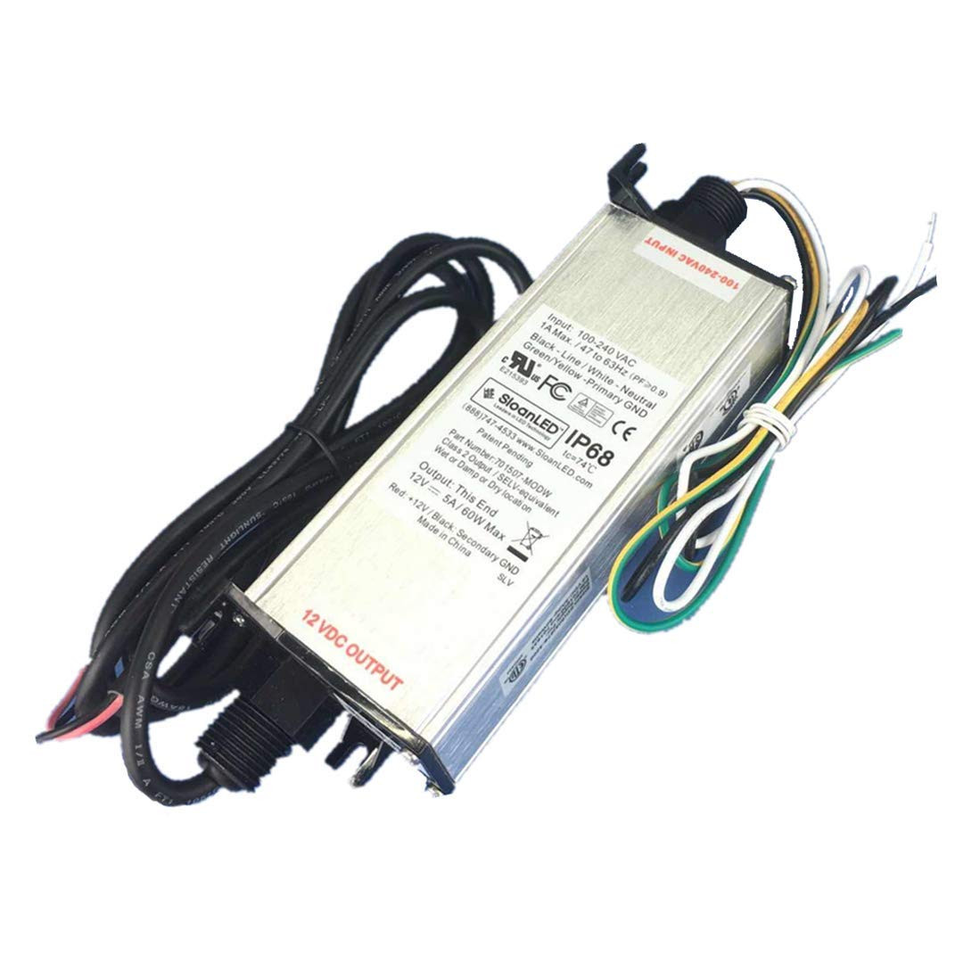Led Power Supplies Drivers Transformers Online Shopping 12 Volt Dc Ul Listed Waterproof Ip68 Supply 60w Driver Transformer Low Voltage Output With 49ft 15m Wire