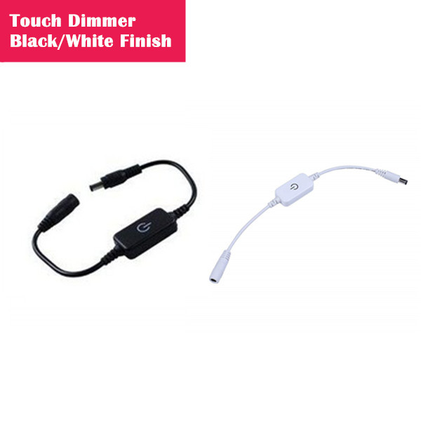 12V/24V 2A LED Strip Dimmer Touching DC Single Color Controller/Dimmer with 5.5/2.1 DC Adapter Jack for 5050 3528 2835 Single Color LED Strip
