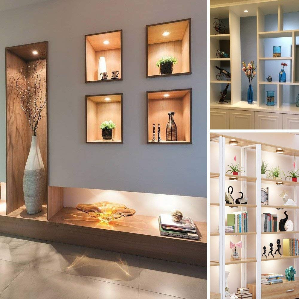 6 Pack LED Puck Lights Kitchen Under Cabinet Lighting Counter Closet Warm White