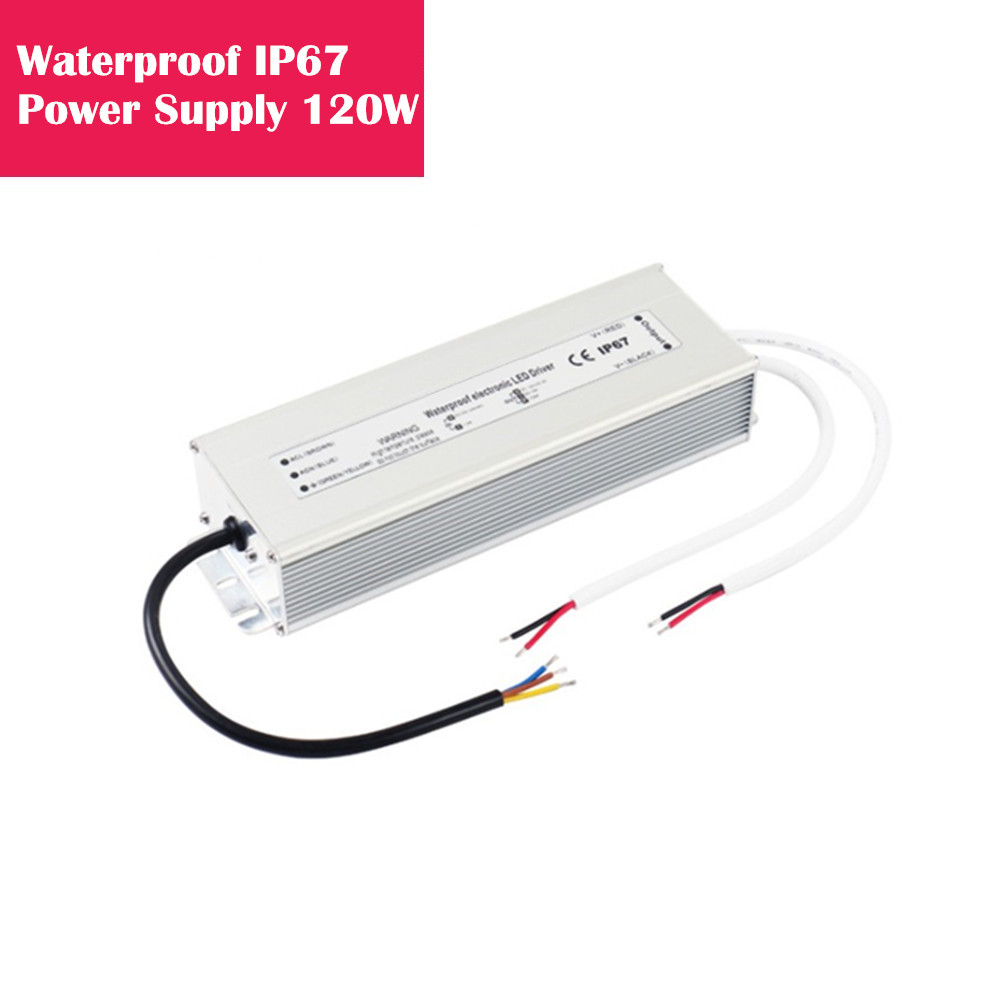 12V 10Amp 120W Outdoor IP67 Waterproof LED Power Supply in Aluminum Shell