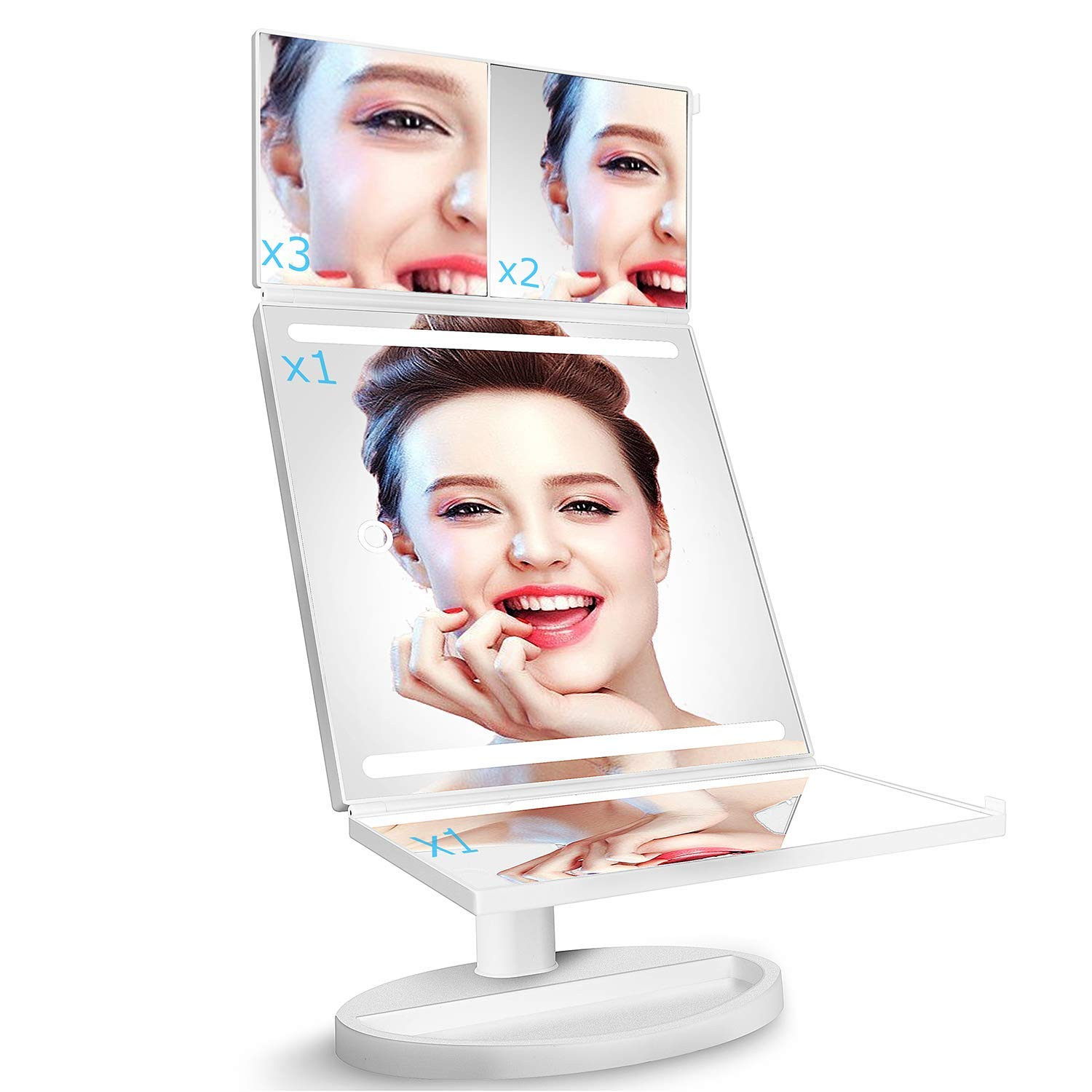 Tri-Fold LED Makeup Mirror with 360° Rotation, 3x/2x Magnification, 32 LEDs, Touching Dimmer and Dual Power Supply, as for Lighted Vanity Mirror and LED Cosmetic Mirror