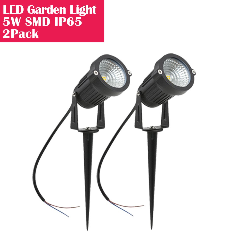 2 Pack 5W LED Landscape Light, 12V 24V Waterprrof Warm White Outdoor Spotlight with Spike Stand Low Voltage Trees Flags LED Pathway Lights for Garden, Driveway, Yard, Lawn, Flood,Fence