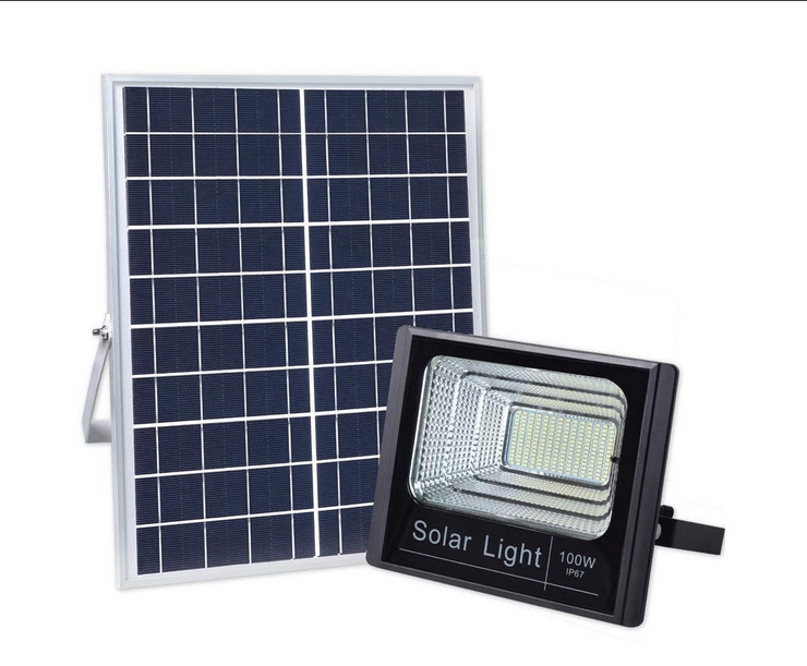 100Watt Dusk to Dawn Solar Powered Light Control Garden LED Floodlight with Timing ON/OFF Remote Controller IP67 for Outdoor Use