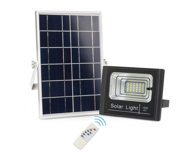 10Watt Dusk to Dawn Solar Powered Light Control Garden LED Floodlight with Timing ON/OFF Remote Controller IP67 for Outdoor Use