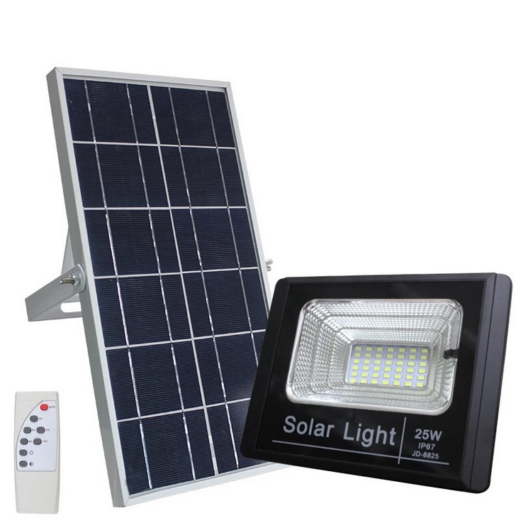 25Watt Dusk to Dawn Solar Powered Light Control Garden LED Floodlight with Timing ON/OFF Remote Controller IP67 for Outdoor Use