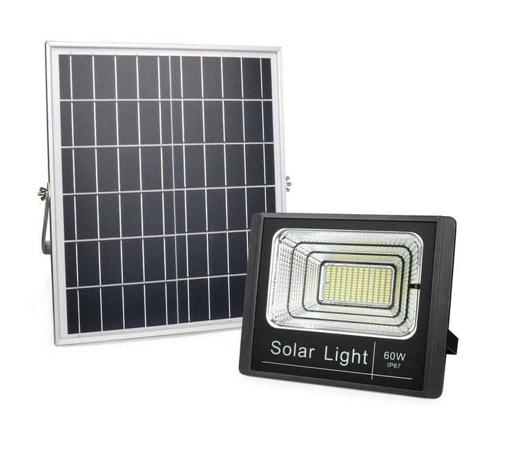 60Watt Dusk to Dawn Solar Powered Light Control Garden LED Floodlight with Timing ON/OFF Remote Controller IP67 for Outdoor Use