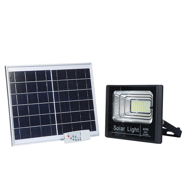 40 Watt Dusk to Dawn Solar Powered Light Control Garden LED Floodlight with Timing ON/OFF Remote Controller IP67 for Outdoor Use