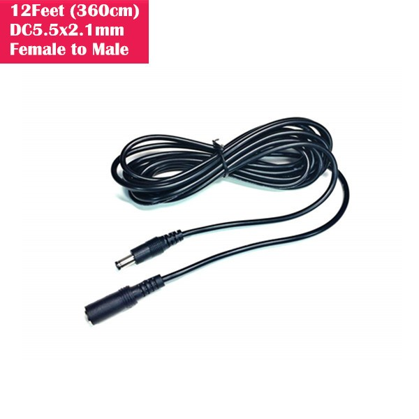 12ft (3.6 Meter) Female/male DC Power extension cable/cord adapter for 5V 12V 24V surveillance cctv system. 5.5mm x 2.1mm