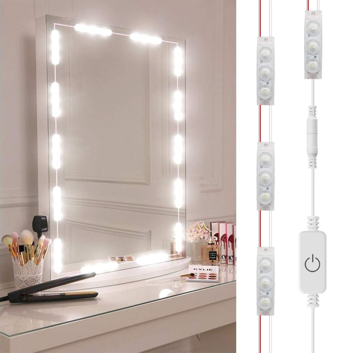 DIY Hollywood Style LED Vanity Mirror Lights Kit Dimmable