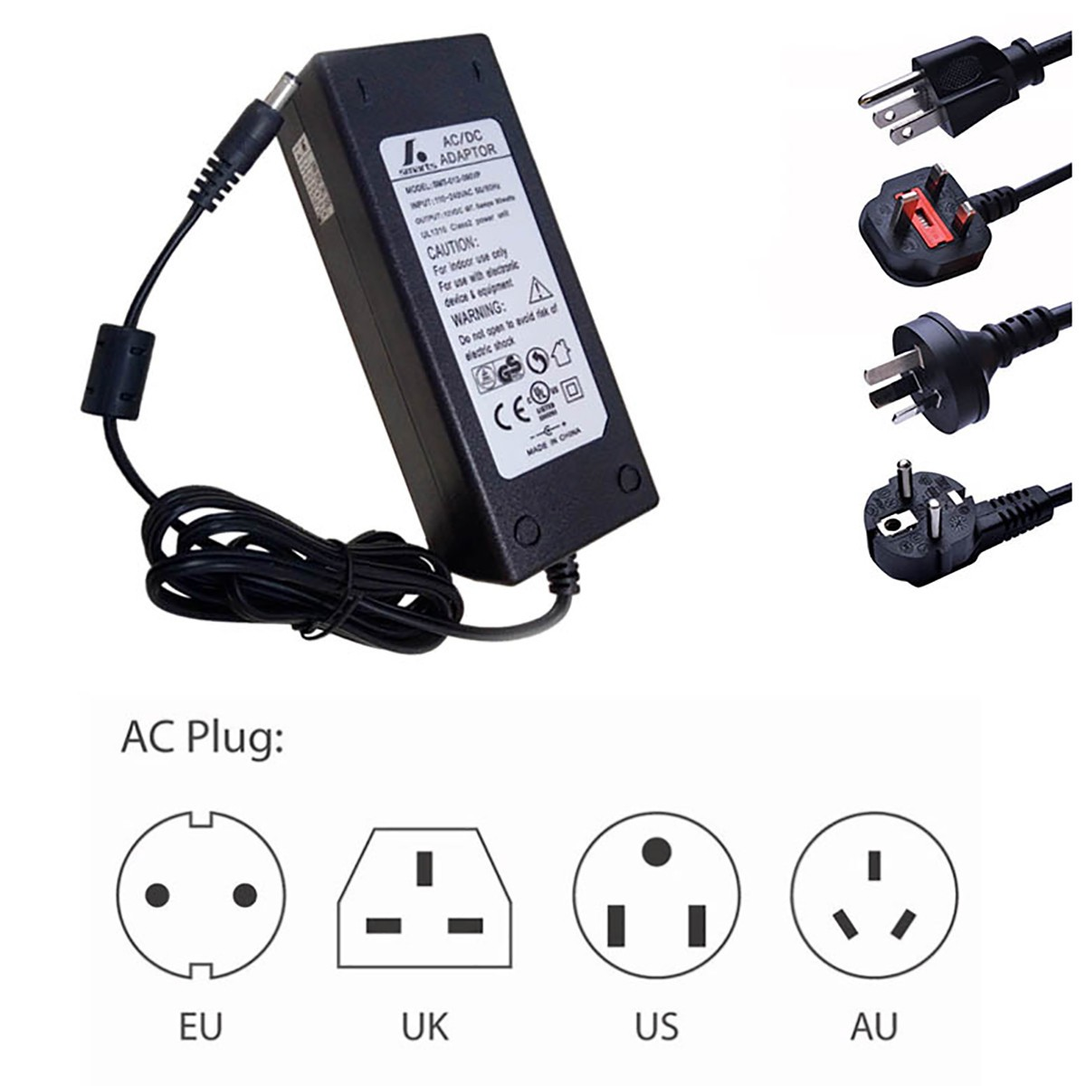 6V 10Amp 60W Indoor AC-DC Wall Plug in Switching LED Power Supply with DC 5.5/2.1 Male Barrel Connector