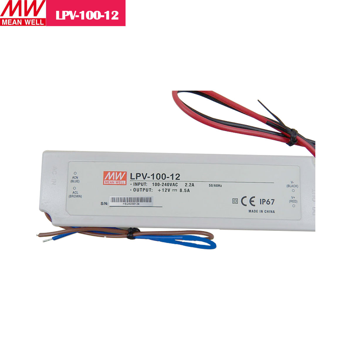 12V 8.5Amp 100W MEANWELL UL Certificated LPV series IP67 Waterproof Power Supply