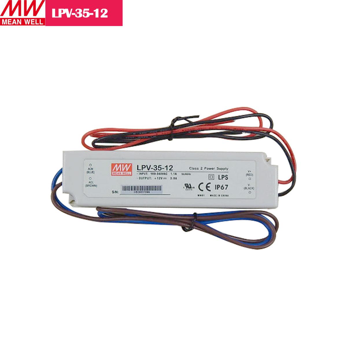 12V 2.92Amp 35W MEANWELL UL Certificated LPV series IP67 Waterproof Power Supply
