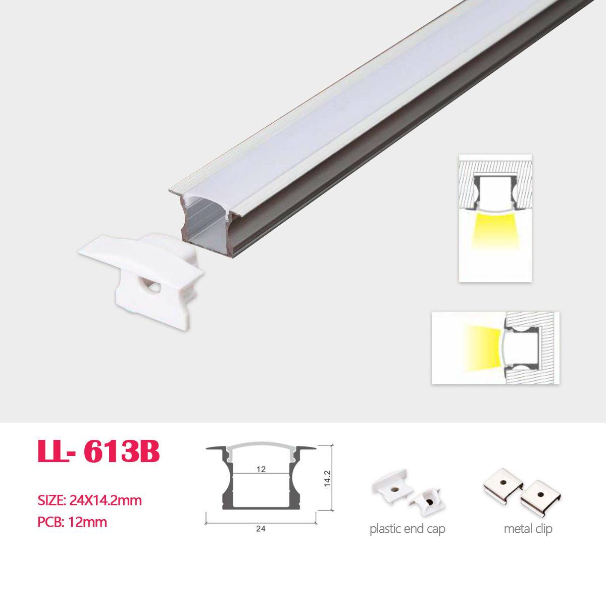 Image of: 1m 3 28ft 24mm 14 2mm Recessed Or Built In Wallled Aluminum Profile With Cover End Caps And Mounting Clips For Led Rigid Strip Lighting System