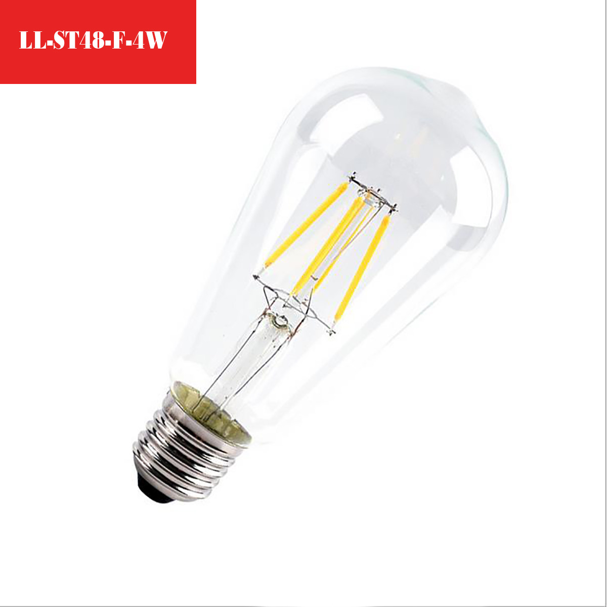 4W Filament LED T-Shape Light Bulb Light ST48 Chandelier Bulb with E26 Base 40W Equivalent Halogen Replacement