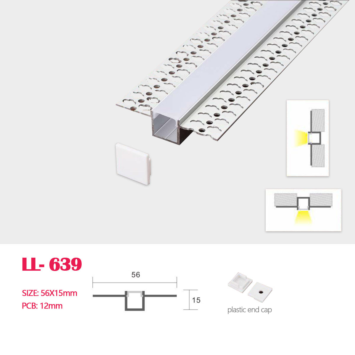Image of: A04 Decorative Flanged Led Aluminum Profile