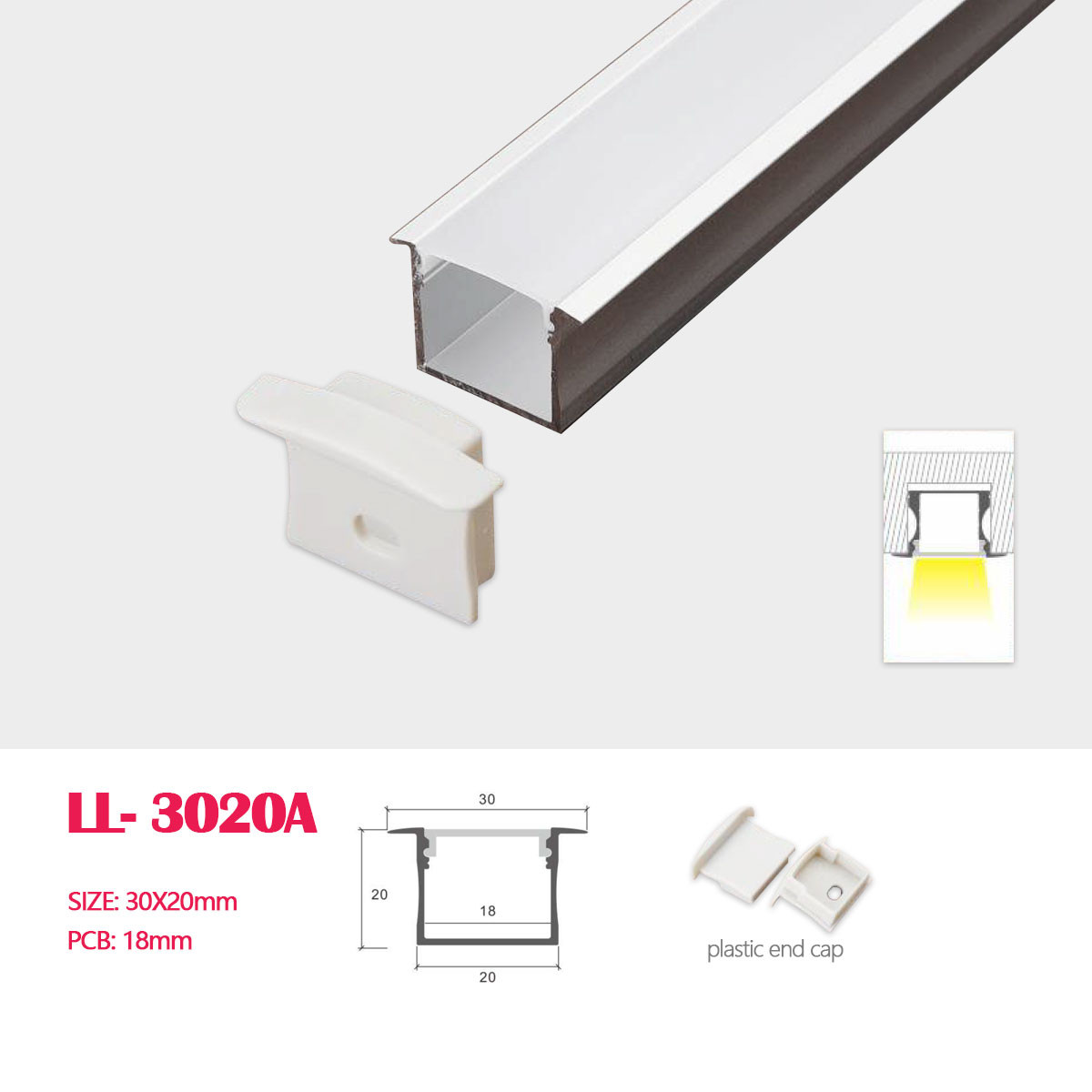 30mm 20mm Recessed Square D Led