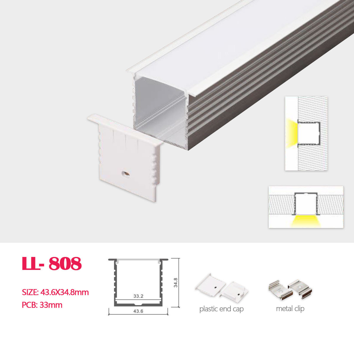 cover 2114b 1m Aluminium profile for led strips strip rigid bar 1mt