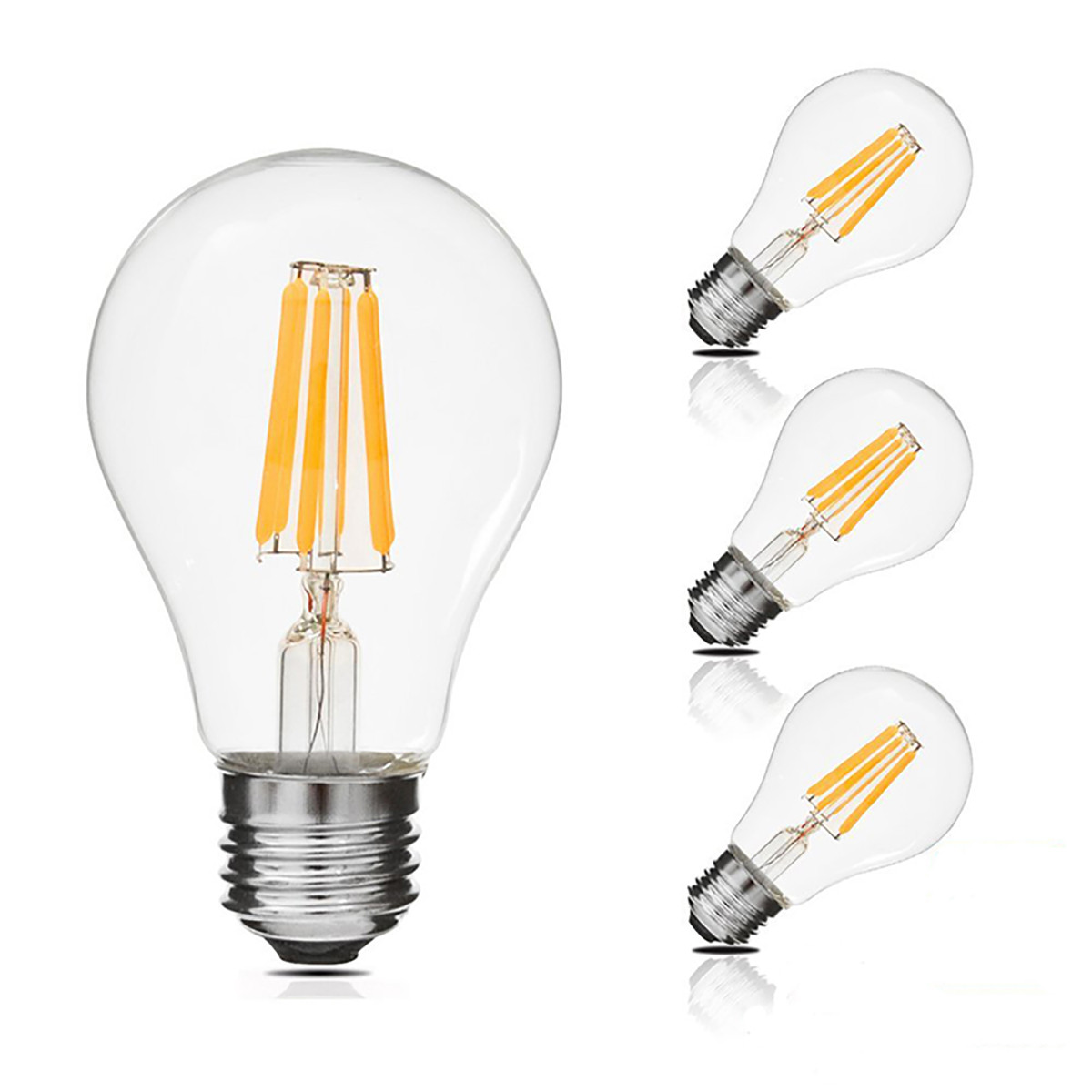 6W Filament LED Globe Light Bulb Light A60 Chandelier Bulb with E26 Base 60W Equivalent Halogen Replacement