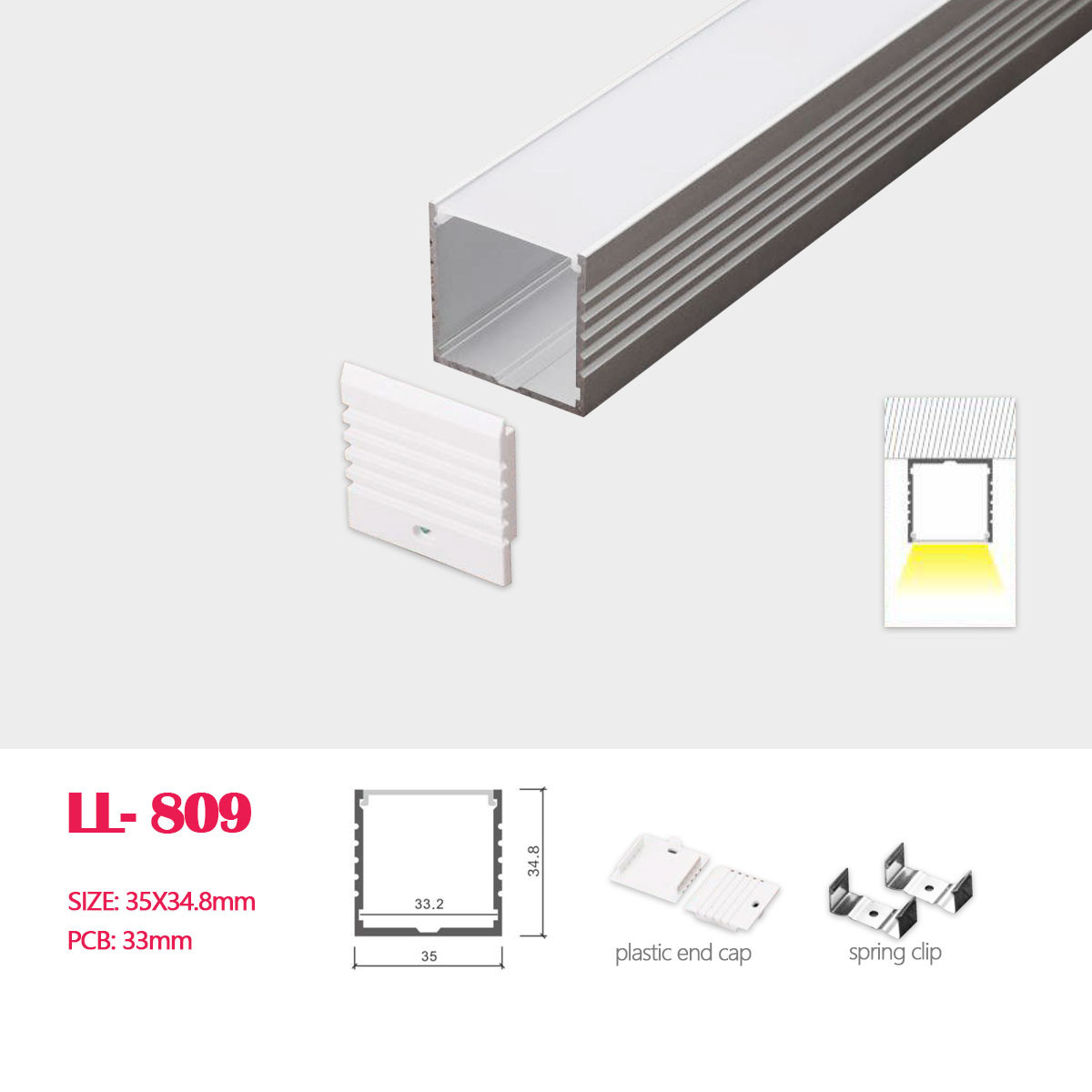Image of: A03 Big Size Aluminum Profile For Led Ceiling Linear Lighting