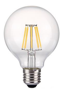 6W Filament LED Globe Light Bulb Light G80 Flame Tip Chandelier Bulb with E26 Base 60W Equivalent Halogen Replacement