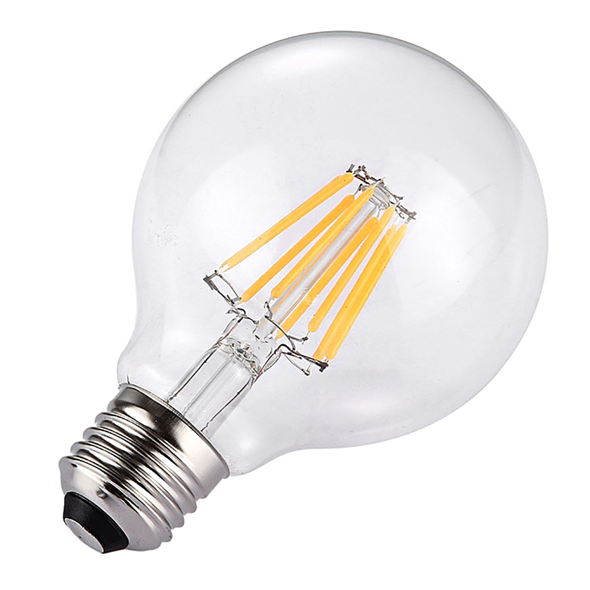 8W Filament LED Globe Light Bulb Light G80 Flame Tip Chandelier Bulb with E26 Base 80W Equivalent Halogen Replacement