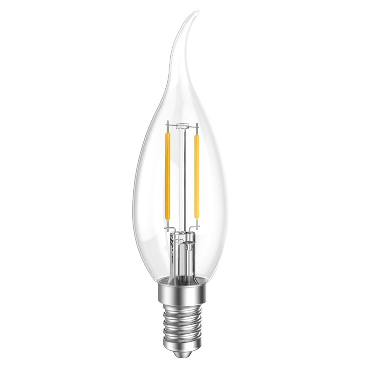 2W Filament LED Candle Light Bulb Light C35 Flame Tip Chandelier Bulb with E14 Base 20W Equivalent Halogen Replacement