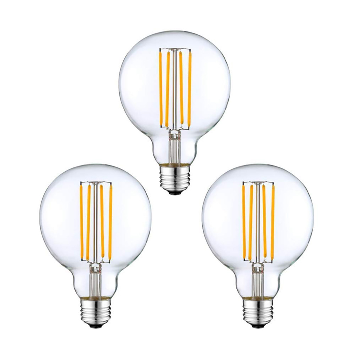4W Filament LED Globe Light Bulb Light G80 Flame Tip Chandelier Bulb with E26 Base 40W Equivalent Halogen Replacement