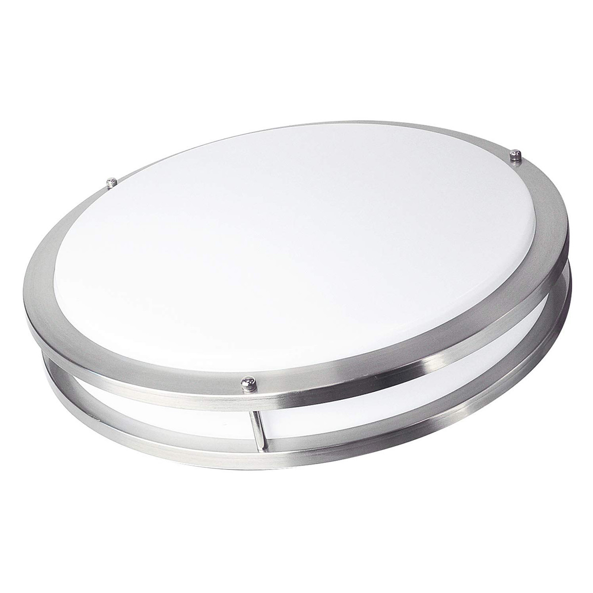 18W 13.97inch 80Lm/W ,Flush Mount, Round Nickel Finish with Acrylic shade and Triple CCTS Changeable  LED Ceiling Light Fixture for Home Lighting