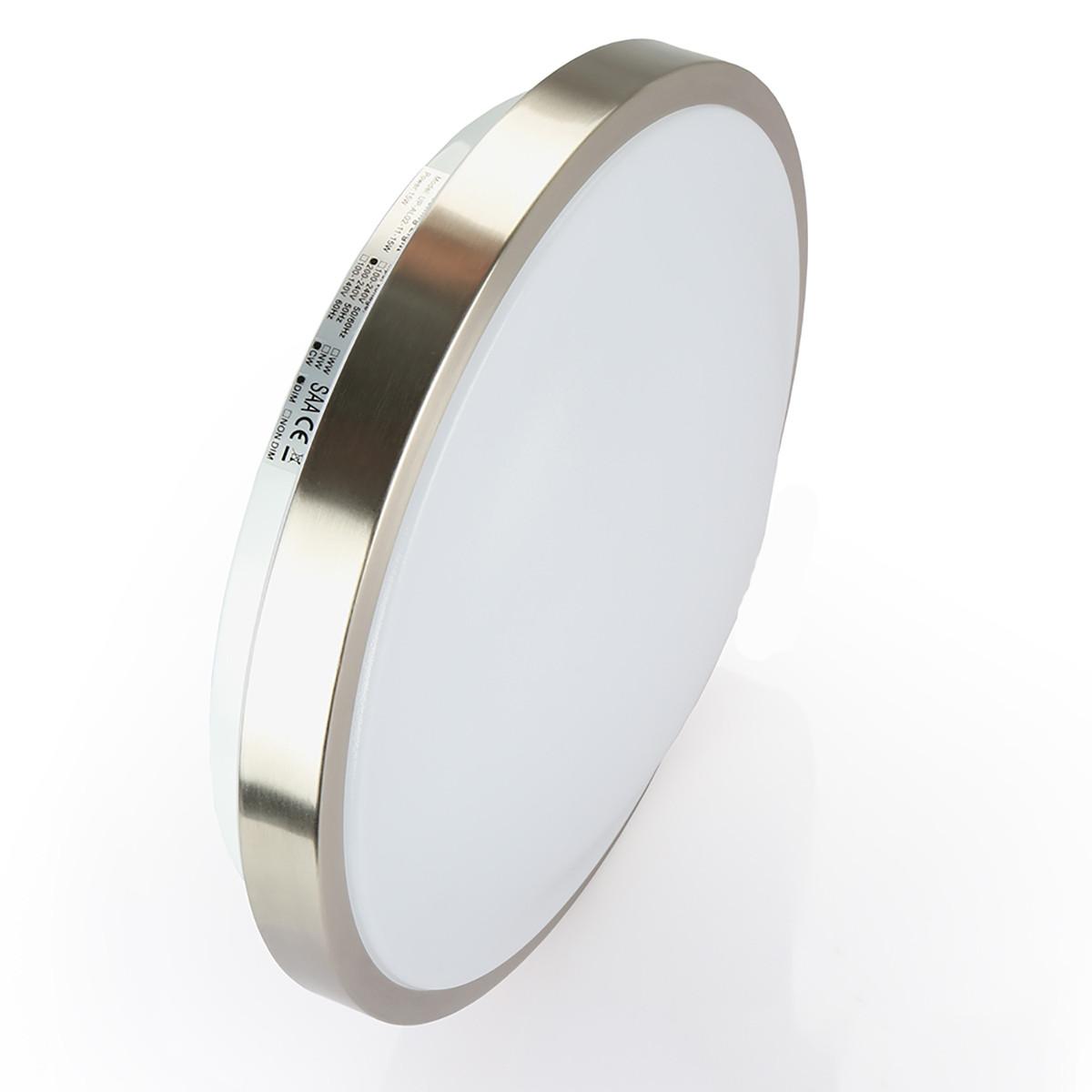 18W 13-Inch,3000K,4000K,6000K  Non-dimable Flush Mount Antique Brushed Nickel  LED Ceiling Light for Home Lighting