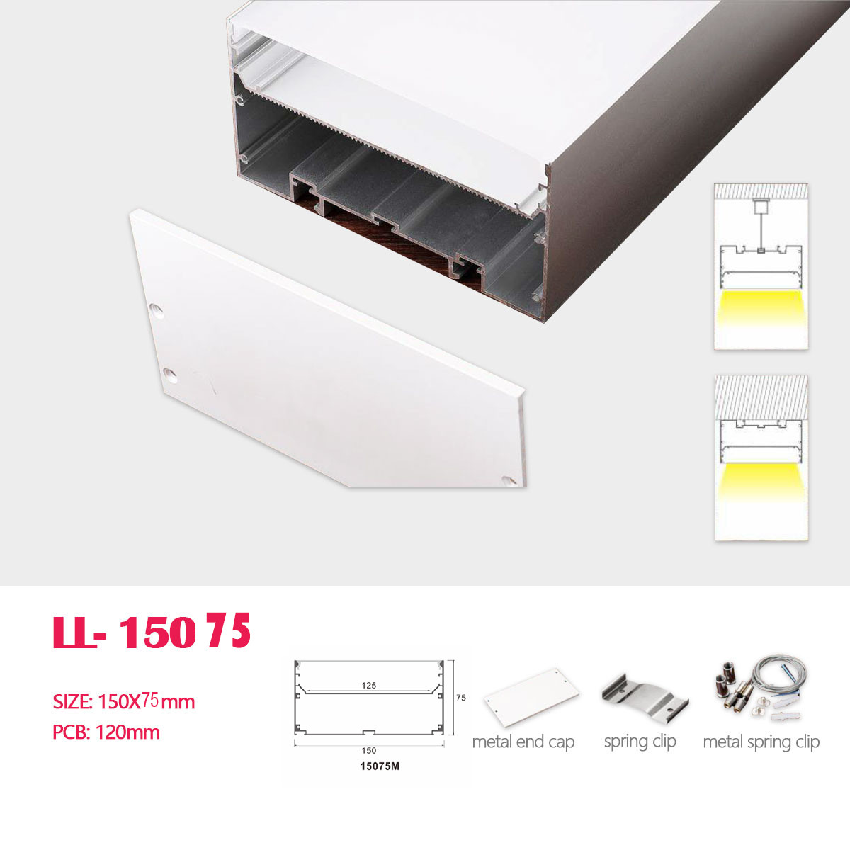 a03 big size aluminum profile for led ceiling linear lighting