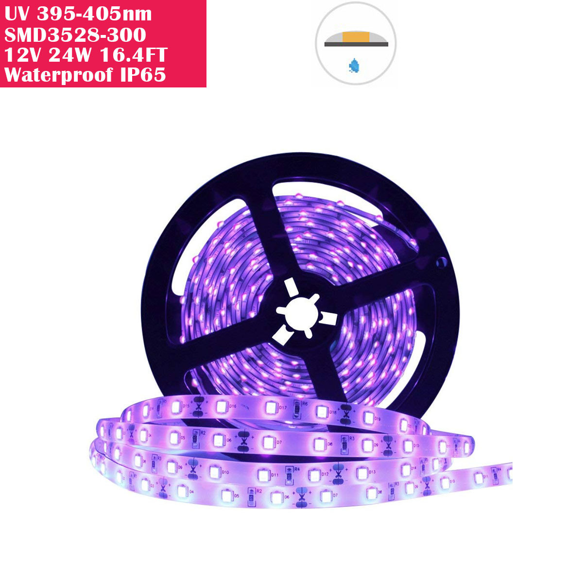 24 Watts UV Black Light LED Strip, 16.4FT/5M 3528 300LEDs 395nm-405nm Waterproof IP65 Blacklight Night Fishing Sterilization implicitly Party with 12V 2A Power Supply