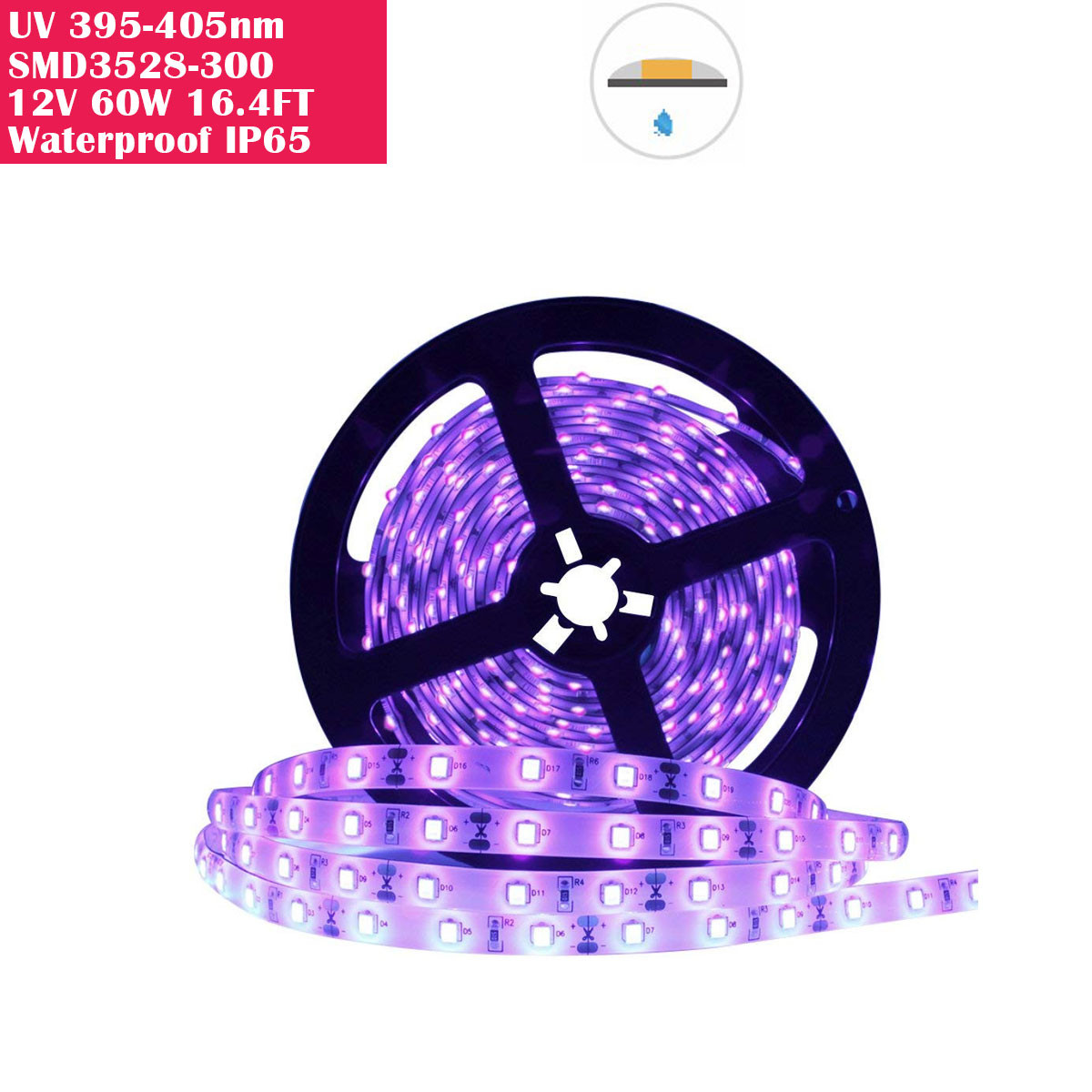 60 Watts UV Black Light LED Strip, 16.4FT/5M 3528 600LEDs 395nm-405nm Waterproof IP65 Blacklight Night Fishing Sterilization implicitly Party with 12V 5A Power Supply